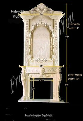 Monumental Hand Carved Marble Fireplace Mantel Fgd029