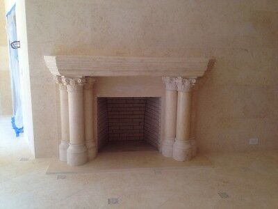Hand Carved Gothic Egypt Cream Estate Fireplace Mantel Fpm2000
