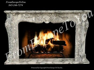 Hand Carved Solid Marble French Style Fireplace Mantel Lc0036
