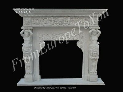 Beautiful Hand Carved Estate Dining Room Marble Fireplace Mantel Fpm99