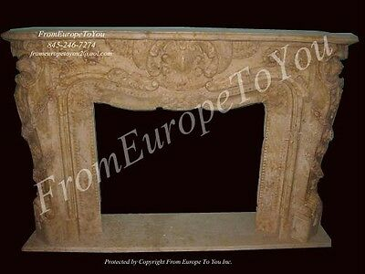 Hand Carved Solid Marble Fireplace Mantel Mfp121