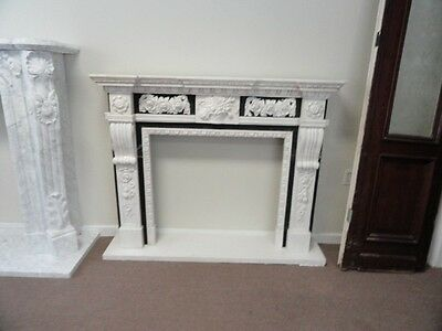 Hand Carved Marble Two Tone Fireplace Mantel #10Mantel#7