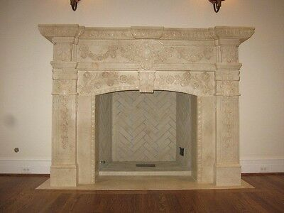Egypt Cream Hand Carved Marble Fireplace Mantel Fpmrv