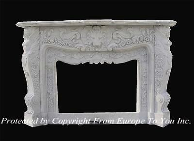Monumental Hand Carved Marble Lion Figural Designer Fireplace Mantel - Fgd013