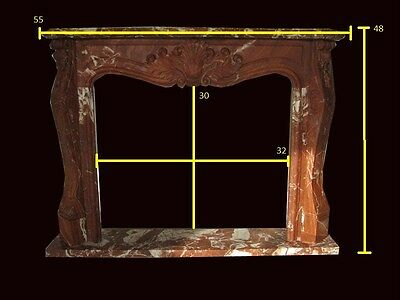 French Hand Carved Red Marble Fireplace Mantel Fpm86
