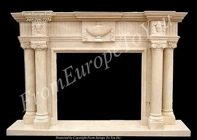 Large Hand Carved Marble Fireplace Mantel Fgd025