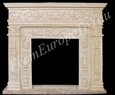 Hand Carved Marble Classical Fireplace Mantel Tle43