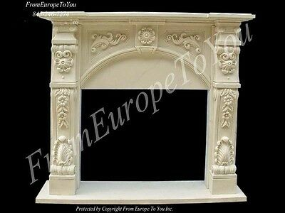 Beautiful Hand Carved Marble Fireplace Mantel Tle11