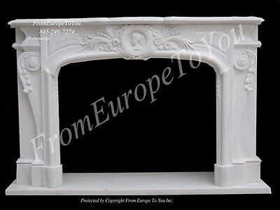 Beautiful Hand Carved Marble Fireplace Mantel Stn2
