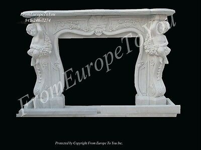 Hand Carved Marble Cherub Fireplace Mantel Fgd52