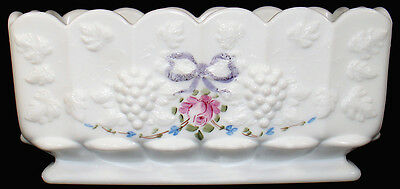 "Westmoreland Milk Glass w/ Roses Bows Paneled Grape Pattern 8.5""l Oblong Planter"