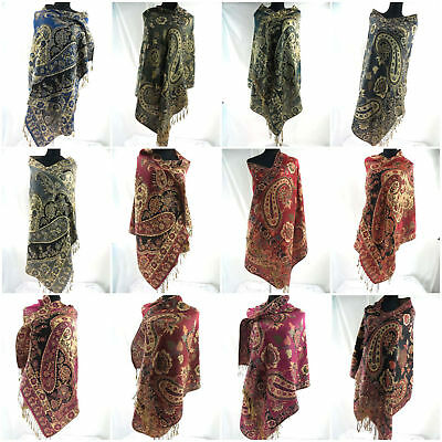wholesale 12pc scarves wraps retro vintage viscose pashmina scarf gold thread