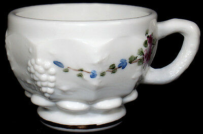 Westmoreland Milk Glass w/HP Roses & FMNs Paneled Grape Pattern 4oz Punch Cup /s