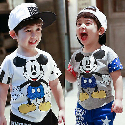 Hot Sell Cartoon Mickey Mouse Kids Boys Girls Short Sleeve Tops T-Shirt 2-7Y