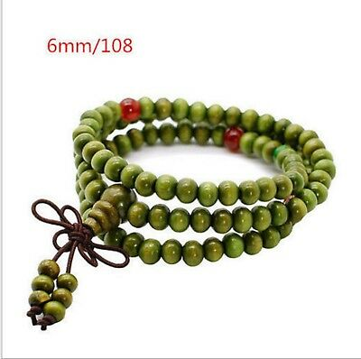 Green Wooden Rosary Mala Buddhist Beads Meditation 6mm 108 Beads Necklace