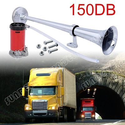 150DB Super Loud 12V Single Trumpet Air Horn Compressor Truck Lorry Boat Train