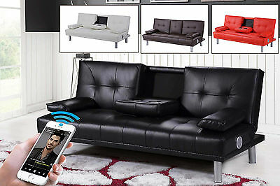 Modern 2/3 Seater Faux Leather Sofa Bed Bluetooth Speakers Black / Red / White