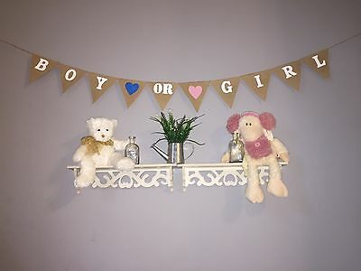 Boy or Girl Baby Shower Burlap Hessian  Bunting Banner Garland Hessian Party