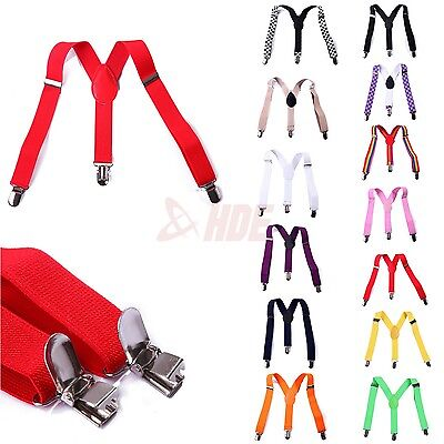 Boys Toddlers Kids Children Y-Back Elastic Clip-on Adjustable Suspenders