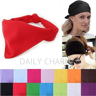 Plain Solid Color Biker Bandana Gym Workout Headband Hair Wrap Tie Handkerchief