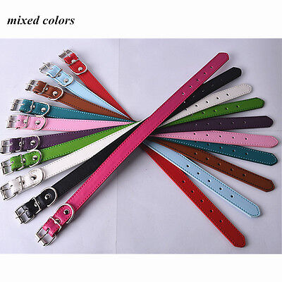 Lot 10 Standard Dog Collars PU Leather Collars For Dogs Pet Products Size S M L