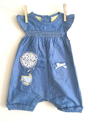 New baby girls denim traditional playsuit outfit age newborn 0-3 3-6 6-9 months