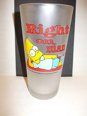 "Vintage huge collection glass 'Right on, man !' - ""The Simpsons Bart "" 1996"