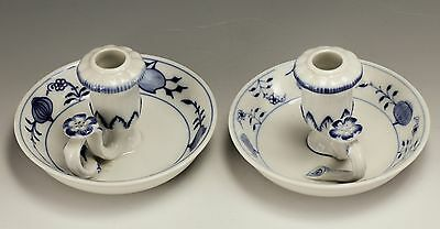 Pair of Meissen Blue Onion Pattern Chambersticks Candleholders hand painted