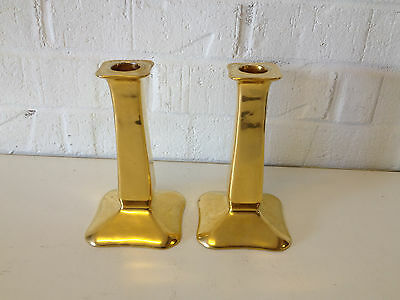 Vintage German Hutschenreuther Porcelain Pair of Gold Candle Stick Holders