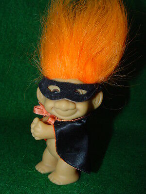 "Troll Dolls Russ 3"" Clip-On Halloween Orange Caped Crusader with mask Zorro"