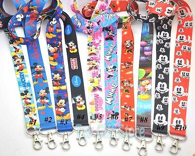 New 1 Pcs Mickey Minnie Mouse Lanyard Keys ID Neck Strap