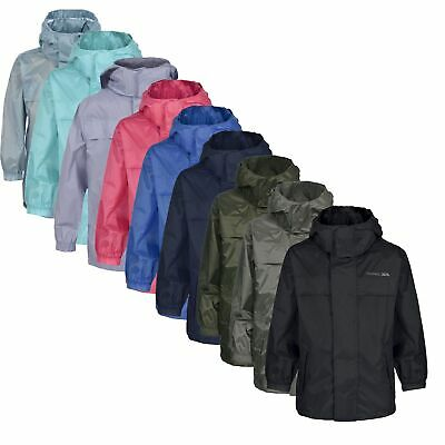 Trespass Packa Kids Waterproof Jacket Lightweight Windproof Girls Boys Raincoat