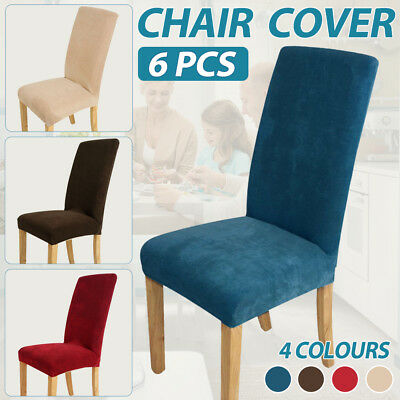 6 Super Fit Removable Chair Cover Dining Room Protector Slipcover Short Stretch