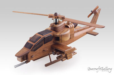Apache Helicopter Handmade Wooden Scale Model Aircraft Military Gifts Hobbies