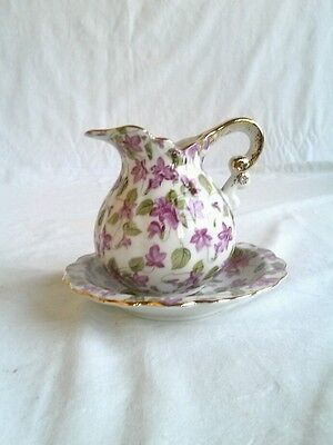 Vintage Royal Chintz Cream Pitcher and Matching Saucer # 2179 (Inv.#:3264364)