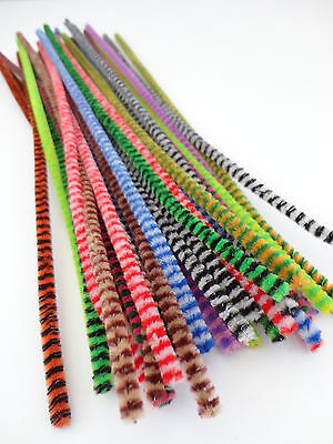 "25 or 50 CHENILLE TIGER TAILS STRIPE CRAFT PIPE CLEANERS STEMS - 12"" / 30cm"