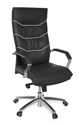 AMSTYLE XXL executive chair Ferrol real leather black, office desk furniture New