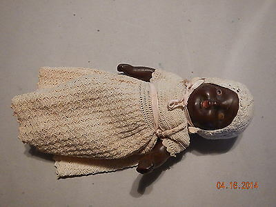 ADORABLE Antique AFRICAN American Black COMPOSITION BABY DOLL w/Clothes