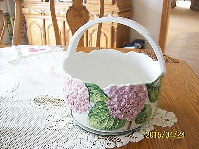 Ceramic Vintage Handle Basket Made In Italy Hand Painted Hydrangea For Bullock's