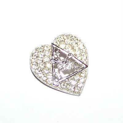 SPARKLING! SILVERTONE AND RHINESTONE HEART SHAPED LOOM (FHC) MOOSE BROOCHE