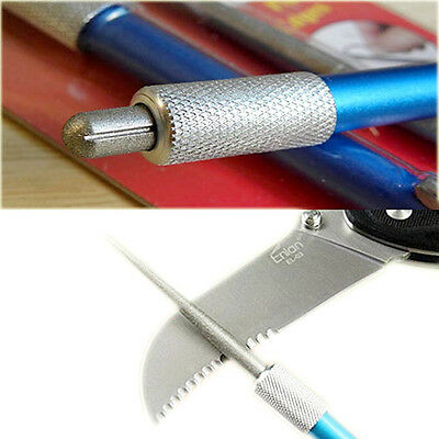 Outdoor Hunting Camping Portable 3in1 Diamond Knife Sharpener Pocket Saw Hook