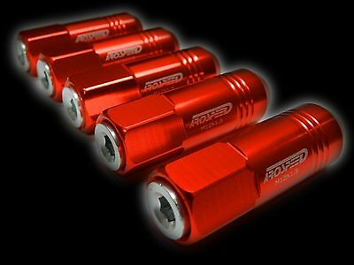 20Pc 12X1.5Mm 60Mm Extended Aluminum Tuner Racing Capped Lug Nuts Red/Silver