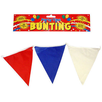 Red White & Blue Bunting 14 Meters/46 Ft USA French Union Jack GB Colours Party