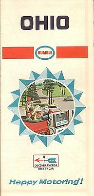 1968 HUMBLE OIL Road Map OHIO Columbus Dayton Cleveland Toledo Cincinnati Akron