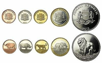 Somali (Somalia) 5 Pieces Coin Set, 5 to 100 Shillings, 2013, Mint,Big 5 Animals