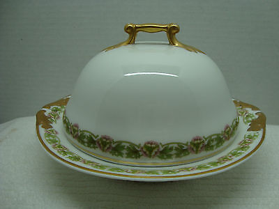 855 M.Redon, p l limoges covered butter dish circa 1905.