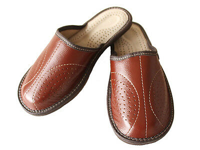 Mens Leather Slippers Slip On Shoes  6.5 - 11 Brown Mules Sandals Scuffs Slides