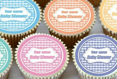 24 x PERSONALISED BABY SHOWER EDIBLE CUPCAKE TOPPERS CAKE WAFER RICE PAPER 7081