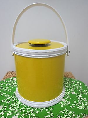 Vintage Retro Kraftware ice bucket yellow and white vinyl made in N.Y.C