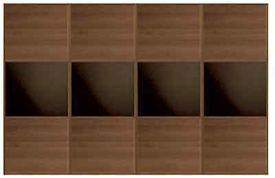 4 Door Windsor Oak / Black Glass Sliding Wardrobe Doors Width: 3516mm New